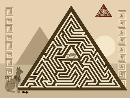 Logical puzzle game with labyrinth for children and adults. Find the way in pyramid to ancient Egyptian treasure. Printable worksheet for kids brain teaser book. IQ test. Vector image.