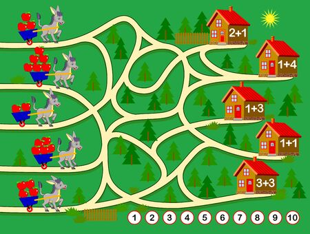Logic puzzle game for children. Worksheet for math textbook on addition. Educational page for kids. Where each of donkeys will deliver apples? Count quantity, solve examples and draw the lines.