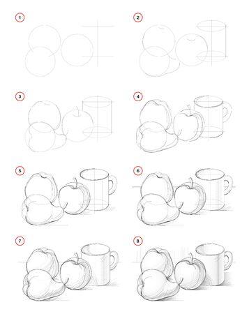 Comment dessiner une image par étapes d'une nature morte avec des pommes et des poires. Création pas à pas de dessin au crayon. Page éducative. Manuel scolaire pour développer les compétences artistiques. Image vectorielle dessinée à la main.
