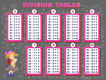 Division tables for little children. Educational page for mathematics baby book. Back to school. Printable sheet for kids math textbook. Developing counting skills. Vector cartoon image.