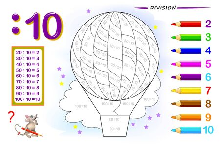 Divisione per numero 10. Esercizi di matematica per bambini. Dipingi l'immagine. Pagina educativa per il libro di matematica. Foglio di lavoro stampabile per libri di testo per bambini. Di nuovo a scuola. Test di addestramento del QI. Immagine vettoriale. Vettoriali