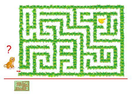 Logisches Puzzlespiel mit Labyrinth für Kinder und Erwachsene. Hilf dem Affen, sich im Dschungel zurechtzufinden, bis Bananen. Druckbares Arbeitsblatt mit Labyrinth für Kinder-Gedankenspielbuch. Intelligenztest. Vektor-Cartoon-Bild. Vektorgrafik