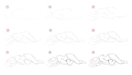 How to draw step-wise imaginary figure of young girl lying on a beach. Creation step by step pencil drawing. Educational page. School textbook for developing artistic skills. Hand-drawn vector image. Illusztráció