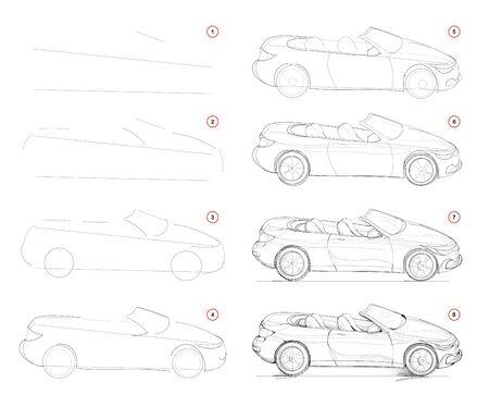 Comment dessiner une voiture décapotable à la mode imaginaire par étapes. Création pas à pas de dessin au crayon. Page éducative. Manuel scolaire pour développer les compétences artistiques. Image vectorielle dessinée à la main.