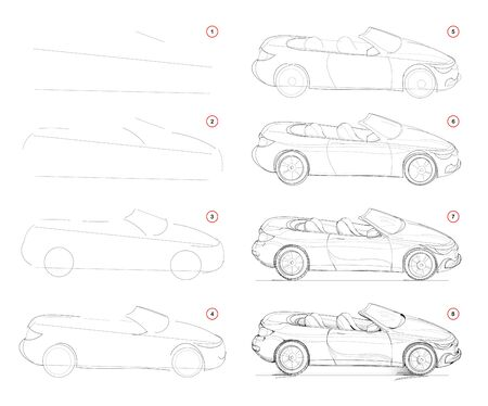 How to draw step-wise imaginary fashionable convertible car. Creation step by step pencil drawing. Educational page. School textbook for developing artistic skills. Hand-drawn vector image.