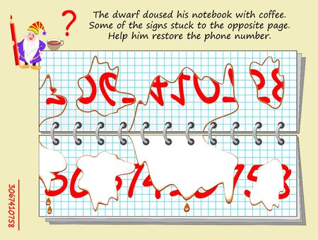 Logic puzzle game for children and adults. Dwarf doused his notebook with coffee. Help him restore phone number. Printable page for kids brain teaser book. Developing spatial thinking skills. IQ test.