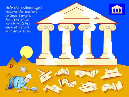 Logic puzzle game for children. Help archaeologist restore ancient antique temple. Find place which matches each of details and draw them. Page for kids brain teaser book. Developing spatial thinking.