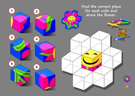 Logik-Puzzle-Spiel für Kinder und Erwachsene. Finde für jeden Würfel den richtigen Platz und zeichne die Blume. Druckbare Seite für Kinder-Gedankenspiel-Buch. Entwicklung räumlicher Denkfähigkeiten. IQ-Trainingstest.