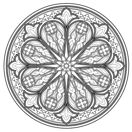 Black and white page for coloring book. Fantasy drawing of beautiful Gothic rose window with stained glass. Medieval architecture in western Europe. Worksheet for children and adults. Vector image.