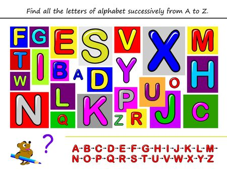 Find all the letters of alphabet successively from A to Z. Study ABC. Education in preschool. Set of English and French letters for kids. Printable puzzle game for children textbook. Back to school. Иллюстрация