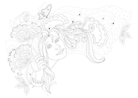 Black and white page for coloring book. Fantasy drawing of beautiful girl with bouquet of flowers. Bride in elegant dress with veil. Poster for wedding salon. Worksheet for children and adults. Иллюстрация