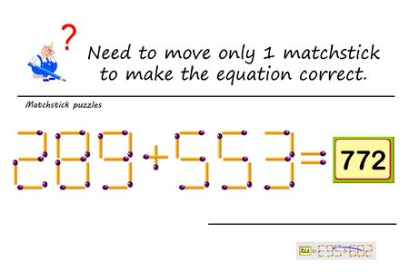 Logic puzzle game with matches. Need to move only 1 matchstick to make equation correct. Solve mathematical example. Printable page for math brain teaser book. Developing counting skills. IQ test.
