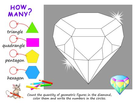 Educational page for children on math. Count the quantity of geometric figures in diamond, color them and write numbers. Printable worksheet for kids mathematics school textbook. Baby coloring book. Illustration