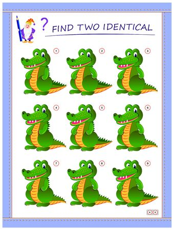 Logical puzzle game for little children. Need to find two identical crocodiles. Educational page for kids. IQ training test. Printable worksheet for textbook. Back to school. Vector cartoon image.