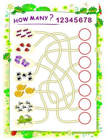 Logic puzzle game for children with labyrinth. Printable worksheet for math textbook. Educational page for kids book. Count the quantity of insects and write the numbers in circles. Back to school.