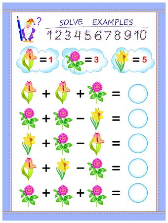 Educational page for children on addition and subtraction. Solve examples, count the quantity of flowers and write numbers in circles. Printable worksheet for kids mathematical school textbook. Иллюстрация
