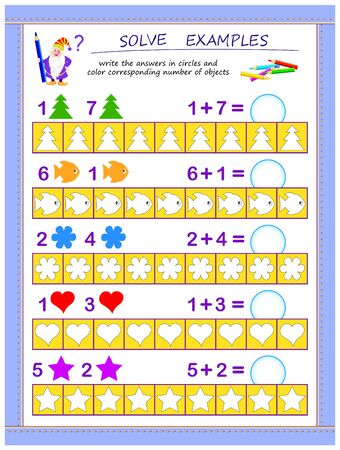 Educational page for children on addition. Solve examples, write the answers in circles and color corresponding number of objects. Printable worksheet for kids mathematics school textbook. IQ test. Иллюстрация