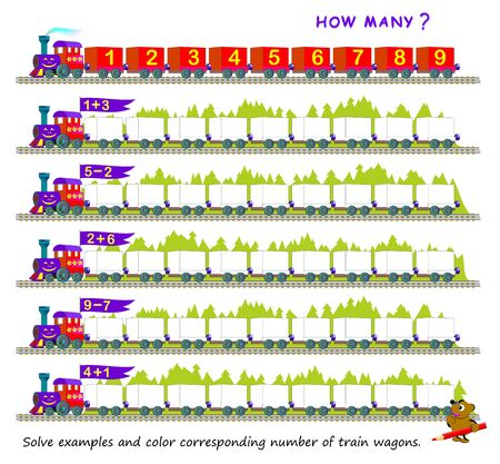 Educational page for children on addition and subtraction. Solve examples and color corresponding number of train wagons. Printable worksheet for mathematical school textbook. Coloring book for kids.