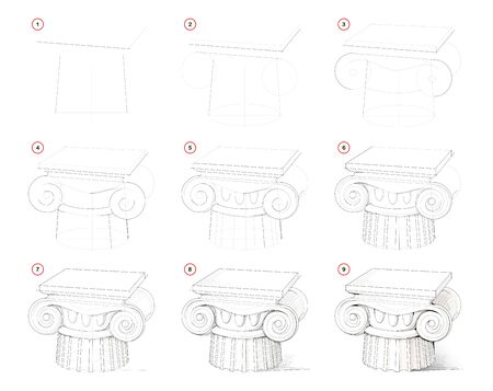 How to draw step-wise antique column in ancient Greek architecture. Creation step by step pencil drawing. Educational page. School textbook for developing artistic skills. Hand-drawn vector image.