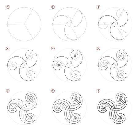 How to draw step-wise Celtic popular symbol Triskel. Creation step by step pencil drawing. Educational page for artists. School textbook for developing artistic skills. Hand-drawn vector image. Иллюстрация