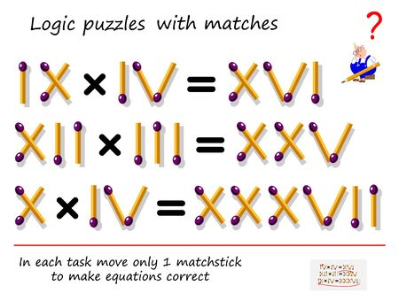 Logical puzzle game with matches. In each task move only 1 matchstick to make equations correct. Math tasks on multiplication with roman numerals. Printable page for brain teaser book. Vector image.