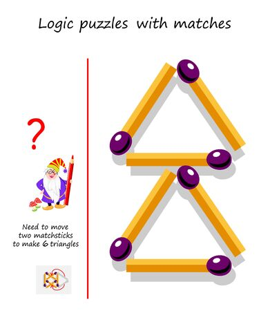 Logical puzzle game with matches. Need to move 2 matchsticks to make 6 triangles. Printable page for brain teaser book. IQ training test. Developing spatial thinking skills. Vector image.