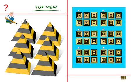 Logical puzzle game for children and adults. Need to find correct top view of pyramids. Printable page for kids brain teaser book. Developing spatial thinking skills. IQ training test. Vector image. Иллюстрация