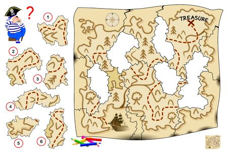 Logic puzzle game for children and adults. Help the pirate restore old map and find treasure. Find the correct place for each piece of paper and draw them. Printable page for kids brain teaser book.