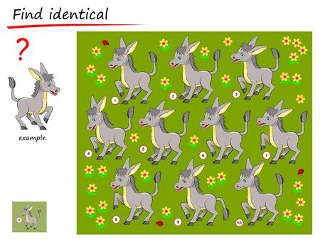 Logical puzzle game for children and adults. Need to find donkey identical the example. Printable page for kids brain teaser book. Developing spatial thinking skills. IQ test. Vector cartoon image.