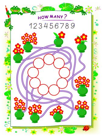 Logic puzzle game for children with maze. Printable worksheet for math textbook. Count the quantity of flowers in each vase and write the numbers in circles. Educational page for kids school book. Иллюстрация
