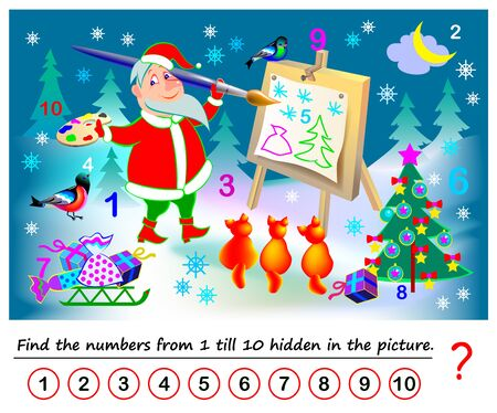 Logical puzzle game for kids. Math exercise for little children. Find hidden numbers from 1 till 10. Developing counting skills. IQ training test. Printable worksheet for textbook. Back to school. Иллюстрация