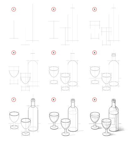 How to draw still life with bottle of vine and glasses. Creation step by step pencil drawing. Educational page for artists. School textbook for developing artistic skills. Hand-drawn vector image.