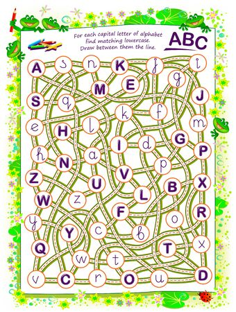 Logic puzzle game for kids. For each capital letter of alphabet find matching lowercase. Draw between the line. Worksheet for school textbook. ABC exercise for children to study reading and writing.