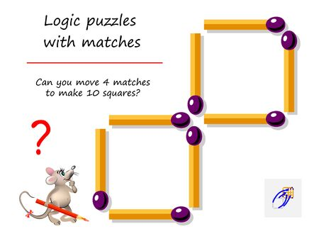 Logical puzzle game with matches for children and adults. Can you move 4 matchsticks to make 10 squares? Printable page for brain teaser book. IQ training test. Developing spatial thinking skills.