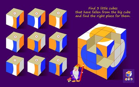 Logic puzzle game for children and adults. Find 3 little cubes that have fallen from big cube and find the right place. Printable page for kids brain teaser book. Developing spatial thinking skills.