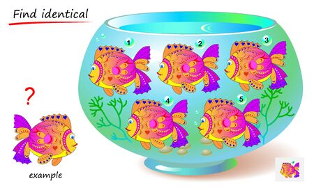 Logic puzzle game for children and adults. Find reflection of fish identical the example. Printable page for kids brain teaser book. Developing spatial thinking skills. IQ test. Vector cartoon image.