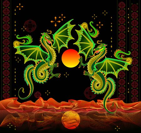 Couple of fantastic dragons flying between flame waves. Chinese lights festival. Abstract background with oriental decoration. Poster for Asiatic fire holiday. Cover for kids fairy-tale book.
