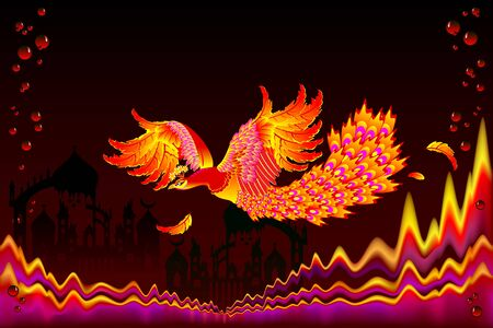 Fairyland bird flying between flame waves in fairy tale kingdom. Fantastic illustration for kids book cover. Performance decoration. Abstract background for poster. Printable vector cartoon image.
