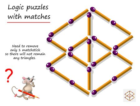 Logical puzzle game with matches for children and adults. Need to remove only 1 matchstick so there will not remain any triangles. Printable page for brain teaser book. IQ training test.