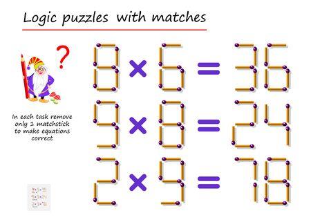 Juego de rompecabezas lógico con fósforos. En cada tarea, retire solo 1 fósforo para corregir las ecuaciones. Tareas matemáticas sobre multiplicación. Página imprimible para libro de rompecabezas. Imagen vectorial. Ilustración de vector