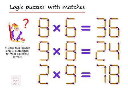 Logisches Puzzlespiel mit Streichhölzern. Entfernen Sie in jeder Aufgabe nur 1 Streichholz, um die Gleichungen richtig zu machen. Matheaufgaben zur Multiplikation. Druckbare Seite für ein Denksport-Buch. Vektorbild. Vektorgrafik