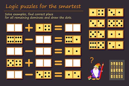 Logic puzzle game for children and adults. Solve examples, find correct place for all remaining dominoes and draw the dots. Printable page for kids brain teaser book. Developing math skills. IQ test. Иллюстрация