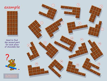 Logical puzzle game for children and adults. Find second part for each piece of chocolate bar. Printable page for brain teaser book. Developing counting and spatial thinking skills. IQ training test. Иллюстрация