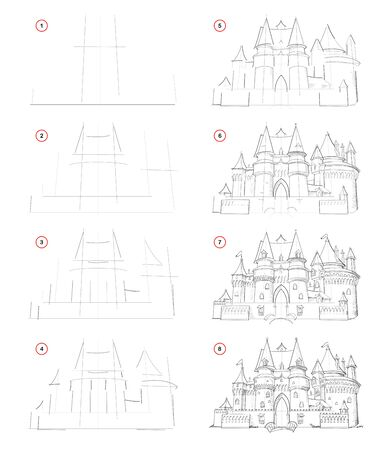 How to draw from nature step by step sketch of medieval French castle. Creation pencil drawing. Educational page for artists. School textbook for developing artistic skills. Hand-drawn vector image.
