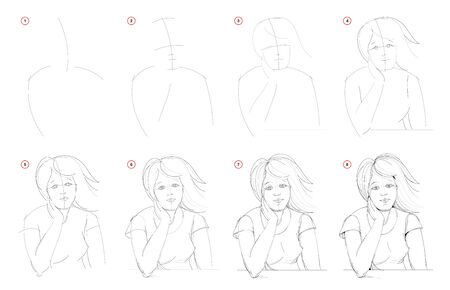 How to draw from nature step by step sketch of young women portrait. Creation pencil drawing. Educational page for artists. School textbook for developing artistic skills. Hand-drawn vector image.