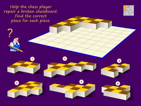 Logic puzzle game for children and adults. Help the chess player repair broken chessboard. Find correct place for each piece. Printable page for brain teaser book. Developing spatial thinking skills.