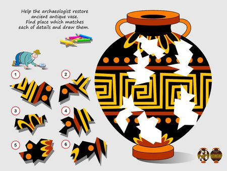 Logic puzzle game for children. Help archaeologist restore ancient antique vase. Find place which matches each of details and draw them. Page for kids brain teaser book. Developing spatial thinking. Stock Illustratie