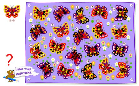 Logical puzzle game for children and adults. Need to find two identical butterflies. Printable page for kids brain teaser book. Developing counting and spatial thinking skills. IQ training test.
