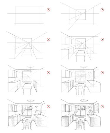 How to draw from nature step by step sketch of kitchen interior in perspective. Creation pencil drawing. Educational page for artists. Textbook for developing artistic skills. Hand-drawn vector image.