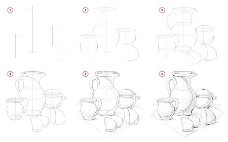 How to draw still life with Baltic ceramic dishes. Creation step by step pencil drawing. Educational page for artists. School textbook for developing artistic skills. Hand-drawn vector image. Stock Illustratie